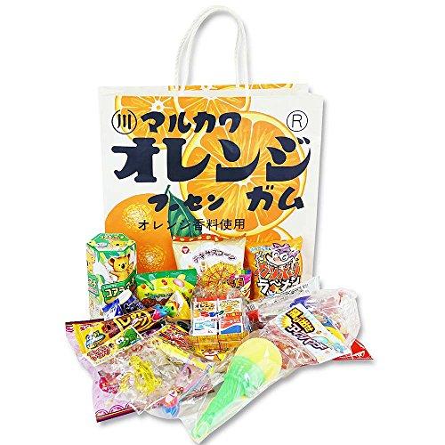 マルカワ オレンジマーブルガム紙袋の駄菓子とおもちゃの詰め合わせ