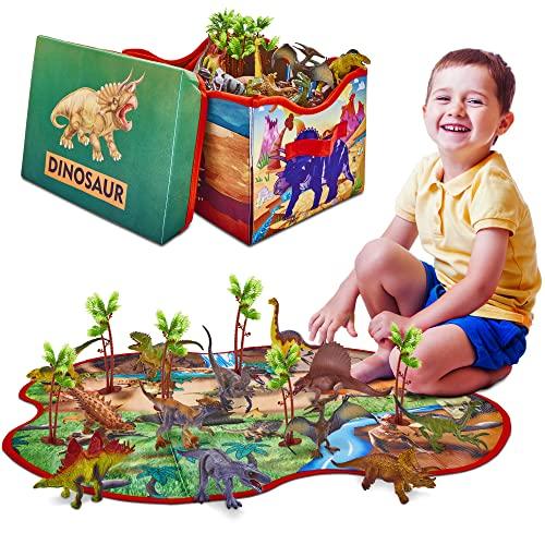 Prehistoric World - Giocattolo a Forma di Dinosauro - 12 Statuette di Dinosauro - 2 in 1 Scatola di conservazione - Giocattoli per Bambini dai 3 Anni in su
