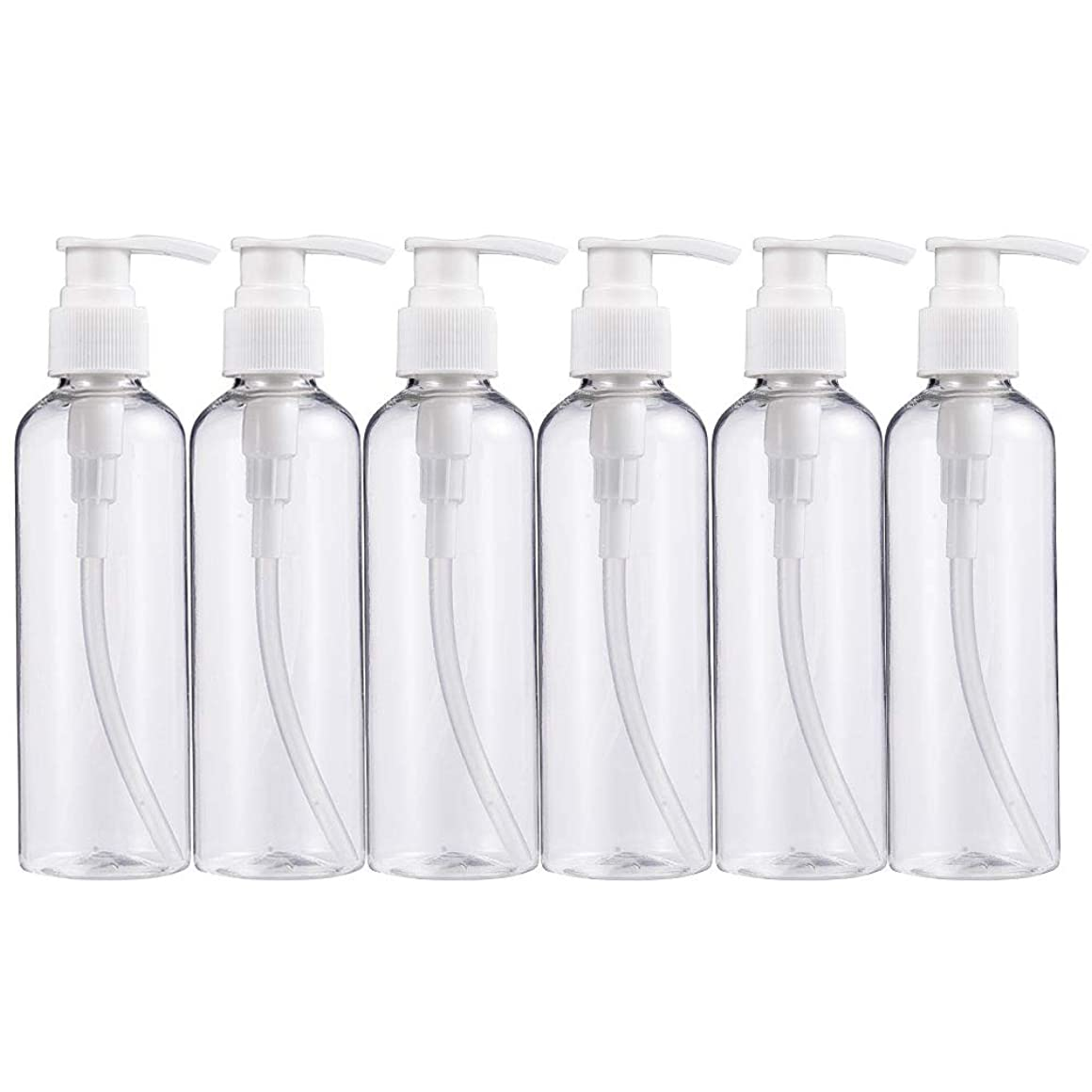 ログ近代化送ったBENECREAT 200mlプラスティックスボトル 6個セット小分けボトル プラスチック容器 液体用空ボトル 押し式詰替用ボトル 詰め替え シャンプー クリーム 化粧品 収納瓶