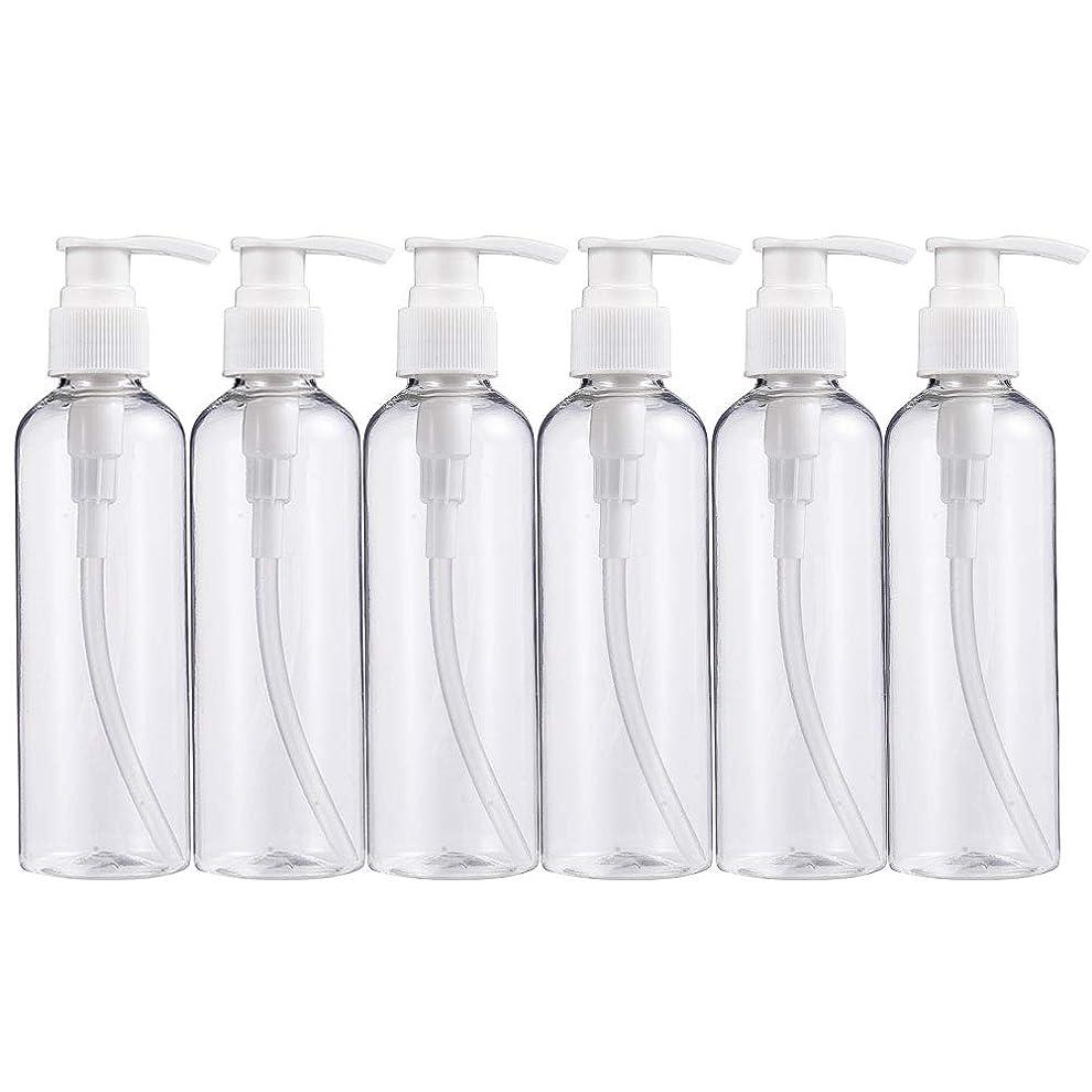 BENECREAT 200mlプラスティックスボトル 6個セット小分けボトル プラスチック容器 液体用空ボトル 押し式詰替用ボトル 詰め替え シャンプー クリーム 化粧品 収納瓶