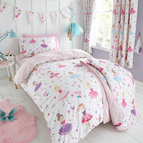 Happy Linen Company Kids Girls Prima Ballerina Ballet Dance Pink Reversible Single Bedding Duvet Cover Set