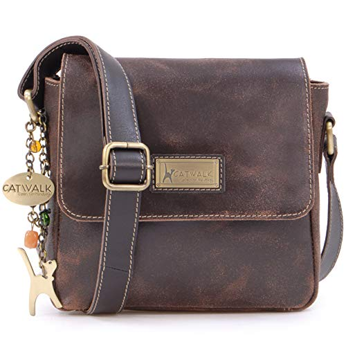 Catwalk Collection Handbags - Ladies Small Distressed Leather Cross Body Bag - Women's Messenger Organiser Work Bag - iPhone/Smartphone - SABINE S - Brown