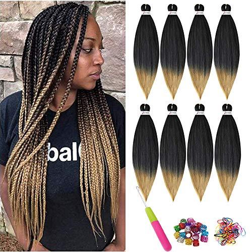 Easy trenza pre estirada extensión del cabello trenzado, trenzado de cabello Crochet Extensiones de cabello de fibra sintética hechas a baja temperatura 8 piezas (26inch(66CM), T1B/27#)
