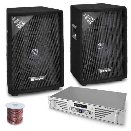 elektronik star DJ-PA Komplett-System Rookie (480W Verstärker + 2X 600W PA Boxen, Mischpult)