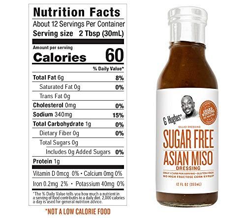 G. Hughes Sugar Free Salad Dressing Asian Miso, Sweet Vinaigrette and Bacon Bits 3 Pack | Keto Friendly
