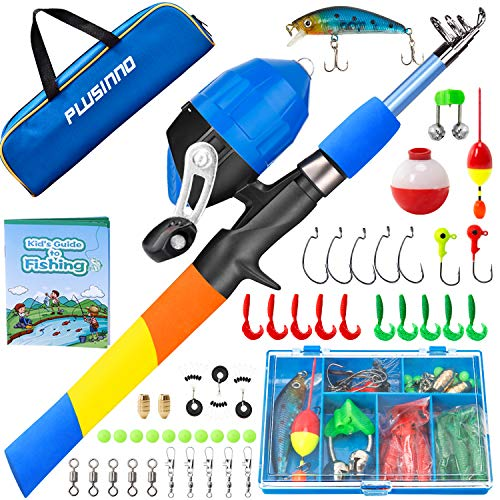 PLUSINNO Kids Fishing Pole, Starter Fishing Kit, Portable Telescopic Fishing Rod and Reel Combo Kit - with Spincast Fishing Reel Tackle Box for Boys, Girls, Youth