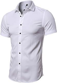 Camiseta Elástica de Vestir Hombre, Manga Corta, Slim Fit, T-Shirt Bambú Fibra Elástica Formal para Hombres