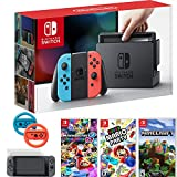 Nintendo Switch Console Blue/Red Joy Con + Mario Kart 8 Deluxe & Super Mario Party & More
