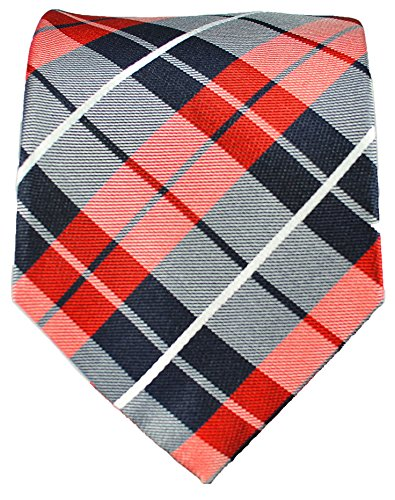 Cravate rouge noir tartan ensemble de cravate 3 Pièces (100% Soie Cravate + Mouchoir + Boutons de manchette)