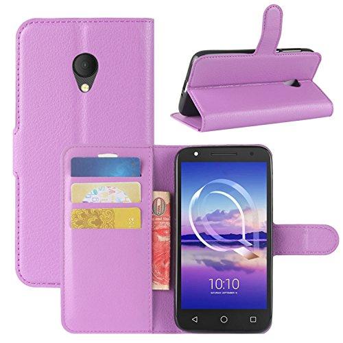 HualuBro Alcatel U5 HD Hülle, Leder Brieftasche Etui Tasche Schutzhülle HandyHülle [Standfunktion] Leather Wallet Flip Hülle Cover für Alcatel U5 HD (Violett)