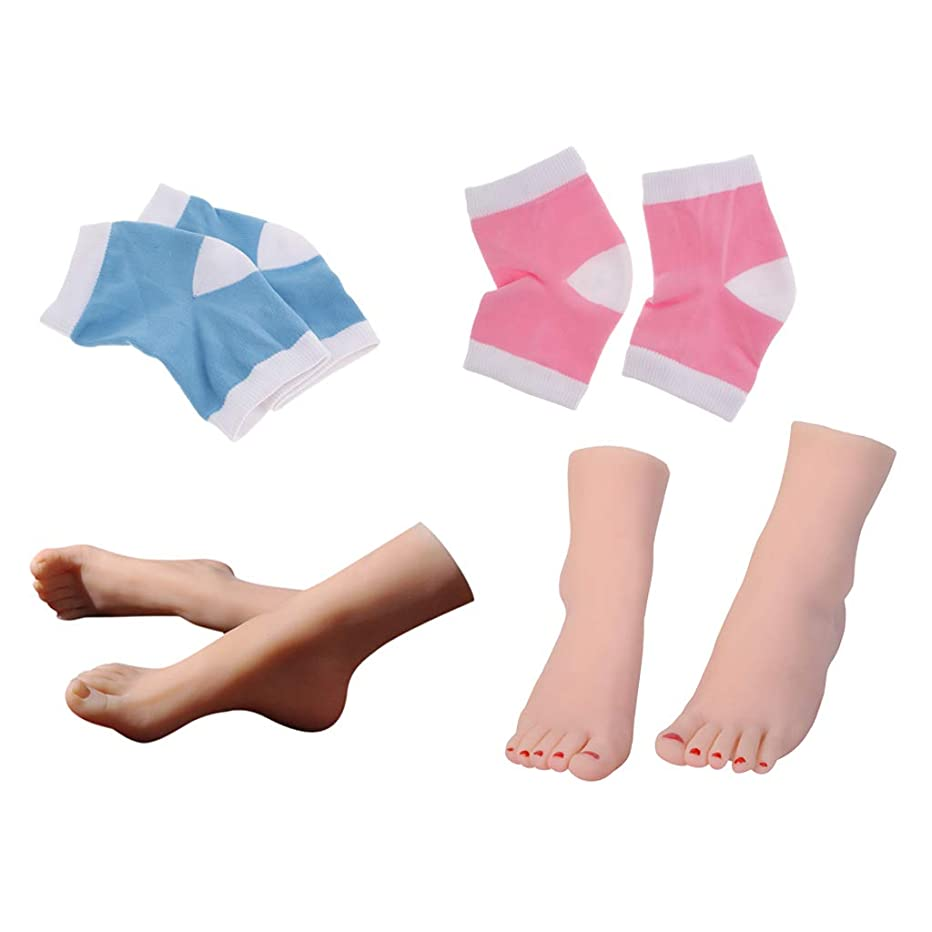 梨寄稿者制裁Perfeclan 足モデル ディスプレイフット 足のマッサージ ネイル 練習用 + 足用スリーブ 足の袖
