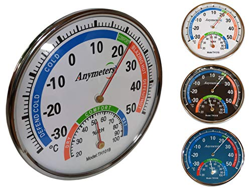 O&W Security Termómetro con higrómetro analógico analógico de temperatura y humedad para interior y exterior, 24 x 5,5 cm, indicador de temperatura de -30 hasta +50 °C, color blanco, azul y negro
