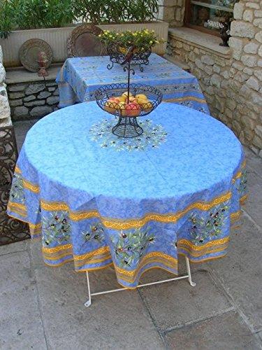Nappe ronde coton enduit clos des oliviers bleu 1m80