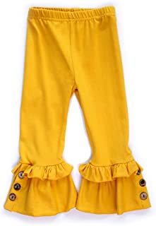 Honeydew cutie Boutique Yellow Ruffle Pants with Button Accent