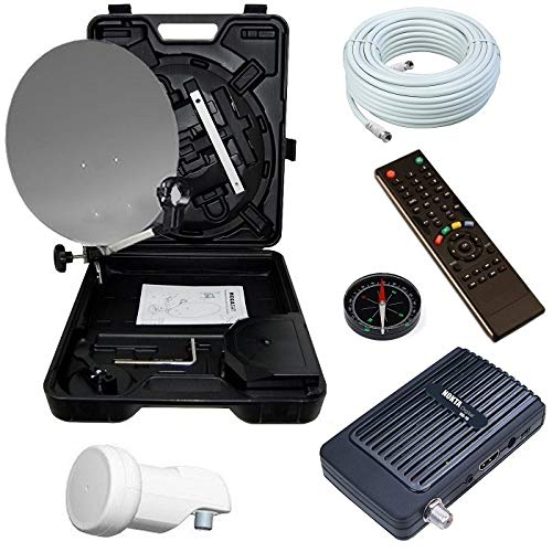 Bundle by netshop 25 Camping SAT Koffer 40cm Spiegel + HD Receiver (12V & 220V) + Single LNB + 10m Kabel