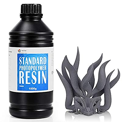WEISTEK 3D Resin UV 405nm Resin High Precision Rapid Photopolymer Resin with Low Odor for LCD 3D Printer,1000g(Grey)