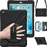 BRAECN iPad Air Shockproof Case [Heavy Duty] Full-Body Rugged Protective Case with 360 Degree Swivel Kickstand/Hand Strap/Shoulder Strap for Apple iPad Air 1st Generation 9.7 inch Case (Black)