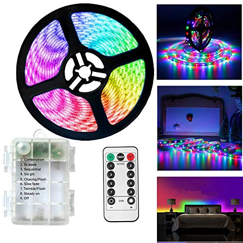 Battery Operated Led Strip Lights with Remote Controller,3M/9.8ft SMD Waterproof Flexible Strip Lighting for Indoor Outdoor, tv,Desk Table,Dining Bed Room,Boat,Kitchen,Christmas (Multi-Colored)