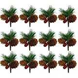 FunPa 12PCS Wedding Pine Picks Mini Pinecone Artificial Plant for Wedding DIY Tree Home Dining Table Decoration Photography Props Garland Accessories