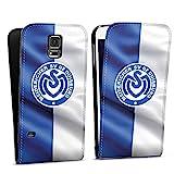 DeinDesign Flip Case kompatibel mit Samsung Galaxy S5 Neo Tasche Hülle MSV Duisburg Fahne Fussball Bundesliga