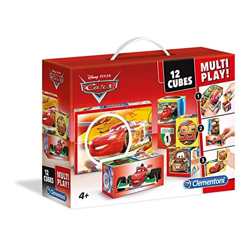 Clementoni- Multiplay Cars Puzzle Cubi, 12 Pezzi, 41505