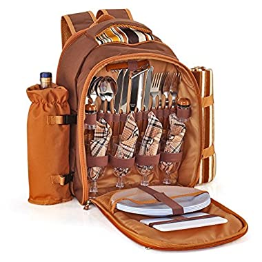 Flexzion Picnic Backpack Kit - Set for 4 Person With Cooler Compartment, Detachable Bottle/Wine Holder, Fleece Blanket, Plates and Flatware Cutlery Set (Plaid Tartan - Brown)