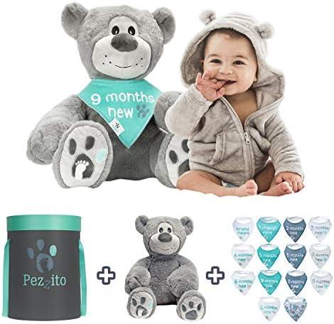 Baby Monthly Milestone Teddy Gift Set Baby Photo Prop 18 Plush Teddy Bear 14 Milestone Bibs product image