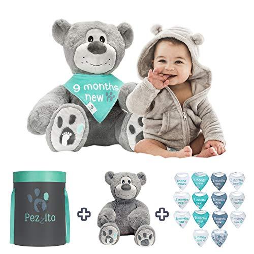"Baby Monthly Milestone Teddy Gift Set - Baby Photo Prop,18"" Plush Teddy Bear, 14 Milestone Bibs   Unique Baby Gift for New Mom to Record Monthly Milestone Pictures, Newborn Boy Gift Perfect 1st Teddy"