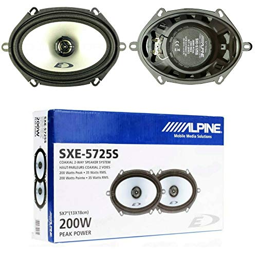 2 Altavoces Compatible con Alpine SXE-5725S coaxial de 2 vías 5 x 7 13,00 x 18,00 cm 130 x 180 mm 35 vatios rms 200 vatios máx 4 ohmios, por par
