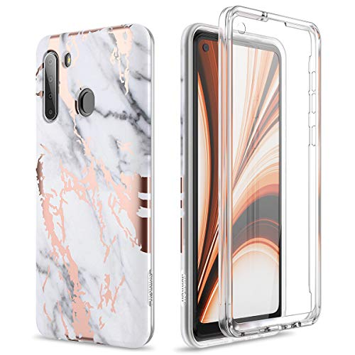SURITCH for Samsung Galaxy A21 Case, [Built-in Screen Protector] A21 Cover Natural Marble Full-Body Protection Shockproof Rugged TPU Bumper Protective Case for Galaxy A21 6.5inch (Gold Marble)