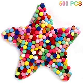 Cuttte 500pcs 1 inch Pom Poms for DIY Creative Crafts Decorations, Party Decor, Card Decor, Gumball Machine Costume, Color Matching Pom Pom Drop, Best Cat Toy, Assorted Colors