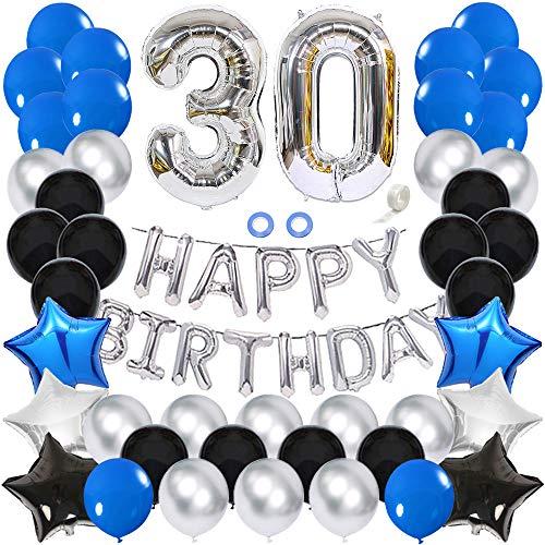 Ceqiny Juego globos para decoración 30 cumpleaños feliz globos plateados número 30 globos látex azules azul negro plateado con forma corazón 30 suministros para fiestas cumpleaños para niños y niñas
