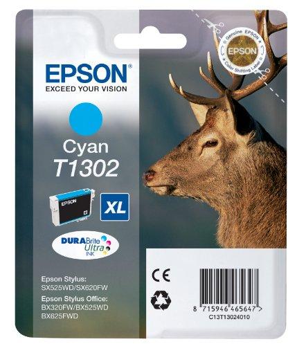 Epson Original T1302 Tinte Hirsch (SX420W BX320FW SX620FW BX/SX525WD BX625FWD BX305FW B42WD BX925FWD BX635FWD BX535WD SX435/440W BX630FW SX235W WF7015 7515 7525 3010 3520 3540) cyan