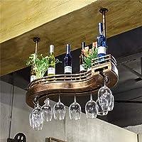 MQJ ワインラック、壁、バー、レストラン、ワインのボトルラック、産業用メタルチェーンラックバーシェルフウッドベース吊り下げ式収納シェルフカウンターカップ,60X23Cm