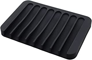 FITYLE Silicone Comb Soap Holder Soap Tray Leak-Proof Dish Drain Layer Flexible Sponge Soap Holder Kitchen Sink - Black