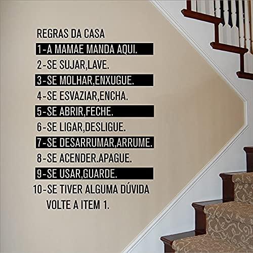 DOUMAISHOP Creativo Portugués Decoración del Hogar Reglas De Residencia Objeto Pared Arte Calcomanía Extraíble Reglas Familiares Pegatinas De Pared Póster Az389