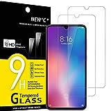 NEW'C 2 Unidades, Protector de Pantalla para Xiaomi Mi 9, Antiarañazos, Antihuellas, Sin Burbujas, Dureza 9H, 0.33 mm Ultra Transparente, Vidrio Templado Ultra Resistente