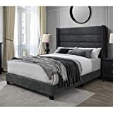 DG Casa George Tufted Upholstered Panel Bed Frame with Tall Horizontal Channel Wingback Headboard, Queen Size in Charcoal Polyester Blend Fabric