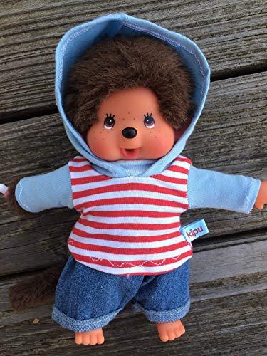 Puppenkleidung handmade passend für MONCHICHI Gr. 20 cm Bekleidung Kapuzenshirt Hoodie + Jeans Hose Kleidung Ringel rot + hellblau NEU