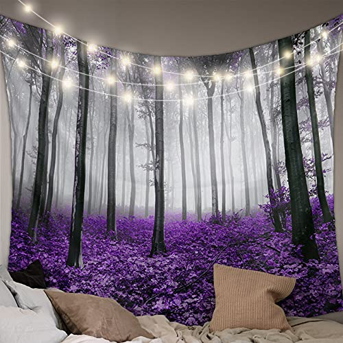 MUSEDAY Wall Hanging Bedding Tapestry Autumn Elegant Purple Maple Leaf Forest with Mystic Misty Tapestry Wall Decor Blanket Bedspread Picnic Sheet Room Dorm Home Decor- 85''x90''