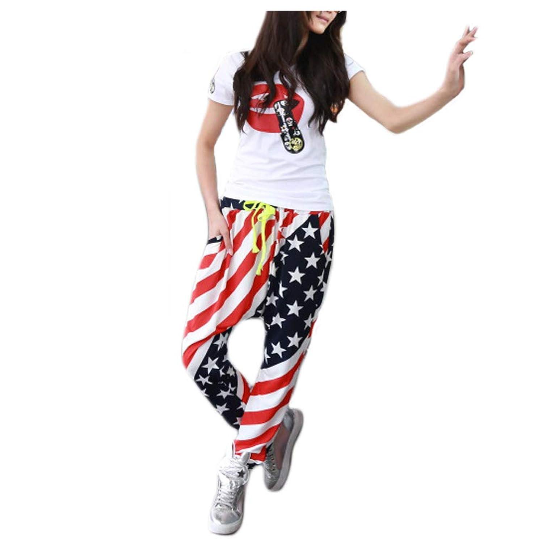 レディース サルエルパンツ USA柄 星条旗 アメリカ国旗 ゆるパン ガウチョ ワイドパンツ ロング ダンス 衣装 ck2836