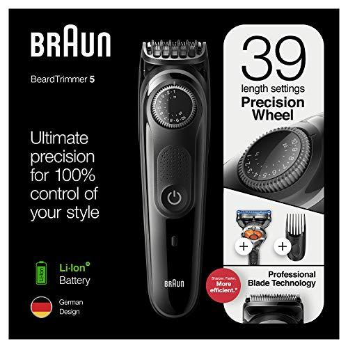 Braun BT5242, Recortadora de Barba y Cortapelos para Hombre, 39 Ajustes de Longitud, Negro/Gris