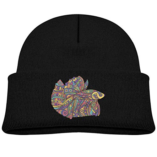 Rainbow Tribal Pattern Betta Fish Cartoon Icon Soft and Comfortable Knitted Hat