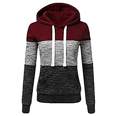 Sufeng Fashion Womens Casual Hoodies Sweatshirt Patchwork Ladies Hooded Blouse Pullove