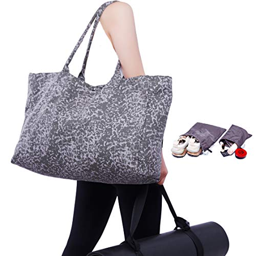 Gym Bag,Canvas Tote,Sports Tote, Dry Wet Separated Tote Bag,2Water-resistant Storage Bags+Adjustable Yoga Strap