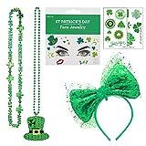 St Patrick's Day Diademas Kit - Diademas Verde & cara pegatina de diamantes de imitación con brillo & collar de trébol & tatuajes, Afortunado Accesorios para disfraces para desfile de niñas, mujeres