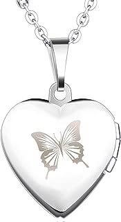 Medalla en Forma de Corazón de Acero Inoxidable Plateado con Una Mariposa Grabada y Abertura para Foto como Amuleto en Rosa o Azul, Incluye Cadena, para Hombre y Mujer