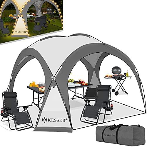 KESSER® LED Event Pavillon inkl. Solarmodul Designer Dome Gartenzelt 3,6 x 3,6m Camping Partyzelt Eventzelt Festzelt Eventpavillon mit Beleuchtung wasserabweisend UV-Schutz Strandzelt Anthrazit