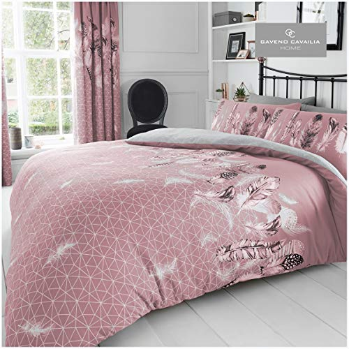 Gaveno Cavailia Luxurious Feathers Bed Set with Duvet Cover and Pillow Cases, Polyester-Cotton, [ Double-Pink ], Polycotton
