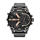 Diesel Men's Mr. Daddy 2.0 Quartz Stainless Steel Multifunction Watch, Color: Black/Rose Gold (Model: DZ7312)